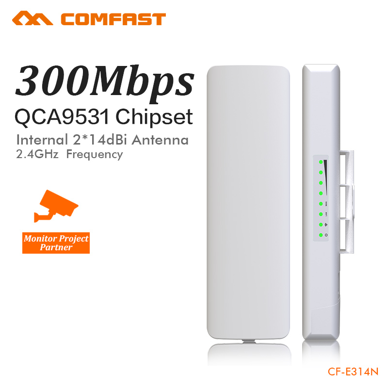 Pont sans fil COMFAST 300 Mbps extérieur CPE 2. 4G Point d'accès wi-fi 1-3 KM gamme Extender routeur CPE pour caméra IP CF-E314N