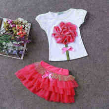 Children's Sets New Arrival Lolita style 2 pcs baby girl T-shirt short skirt O-Neck Lace Floral short sleeve kids children suits