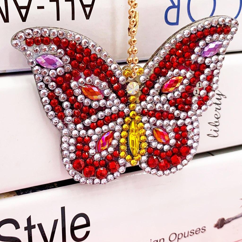 5pc À faire soi-même Papillon Plein Foret spécial en forme de diamant peinture Keychain Cadeau Craft