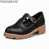 YOUGOLUN Women T-Strap Pumps Fake Skin Square Heel 3.5 cm Mid Heels Apricot Black Brown Platform Round toe Sweet Shoes #A-053
