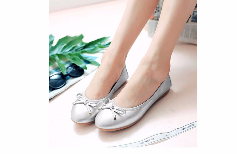 New Women Ballet Flats Genuine Leather neri Loafers Bling Silver Round Toe Glossy Women Flats Shoes Ballerina Flat Shoes Women 2016 autumn fashion women full grain leather flat heel white shoes student bling round toe leather brand basic flats loafers
