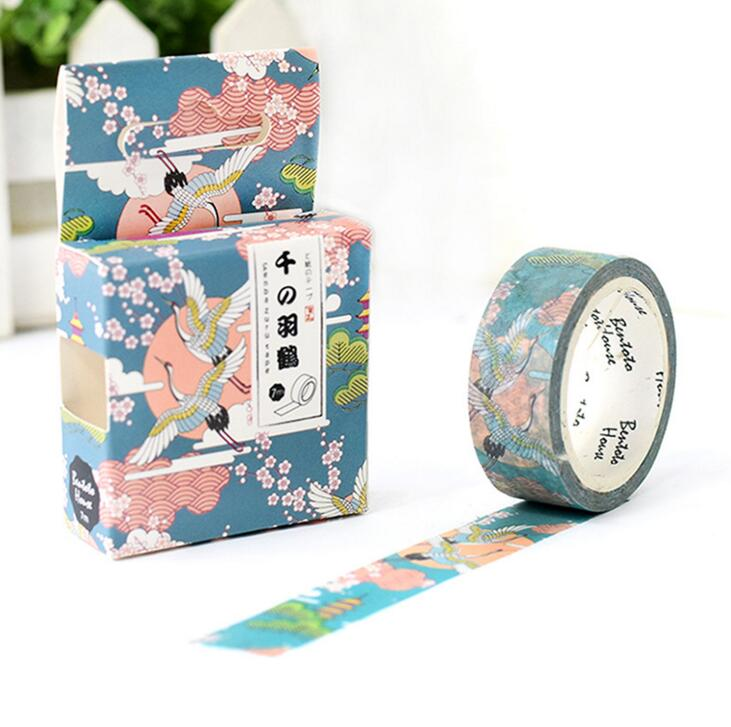 Flying Crane In The Cloud Decorative Washi Tape DIY Scrapbooking Masking Tape School Office Supply Escolar Papelaria
