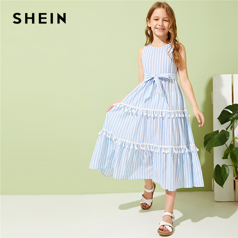 SHEIN Kiddie Girls Striped Tassel Trim Flared Boho Dress With Belt Kids 2019 Summer Holiday Sleeveless Zipper Back Long Dresses