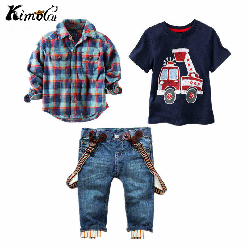 Kimocat Children's clothing sets for spring Baby boy suit Long sleeve plaid shirts+car printing t-shirt+jeans 3pcs suit set destroyed raw hem denim shorts