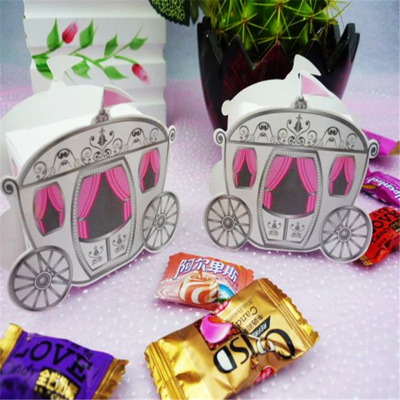 Romantic Fairy Tale Favors Gifts Baby Shower Wedding Candy Box Cinderella Pumpkin Carriage Wedding Decoration Mariage 100pcs