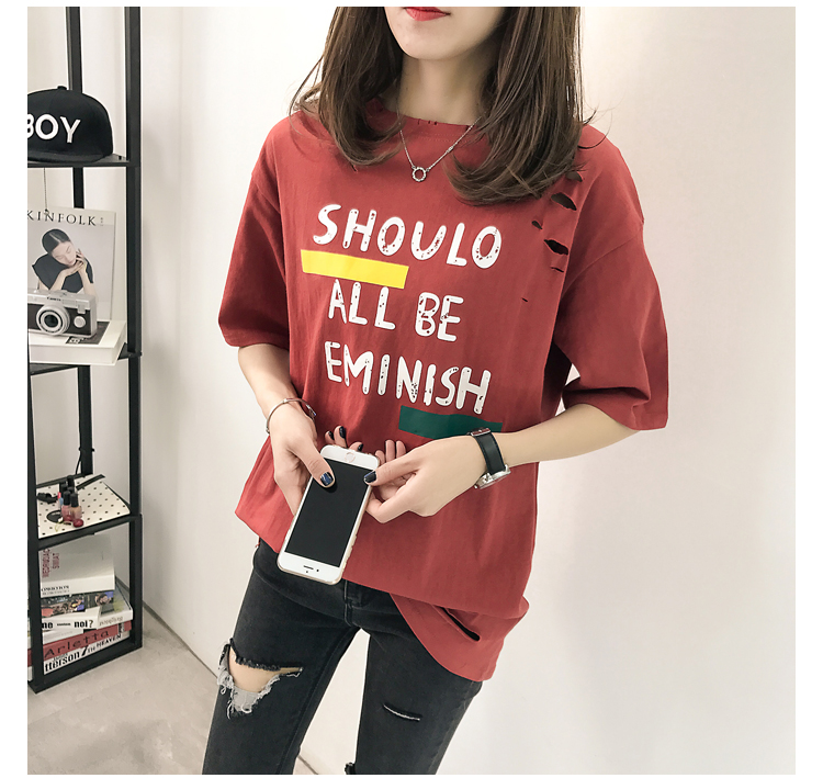 XL- 4XL 2019 new plus size summer loose High Street hole Letter print short sleeve O-Neck women T-shirt top tee TY5 32