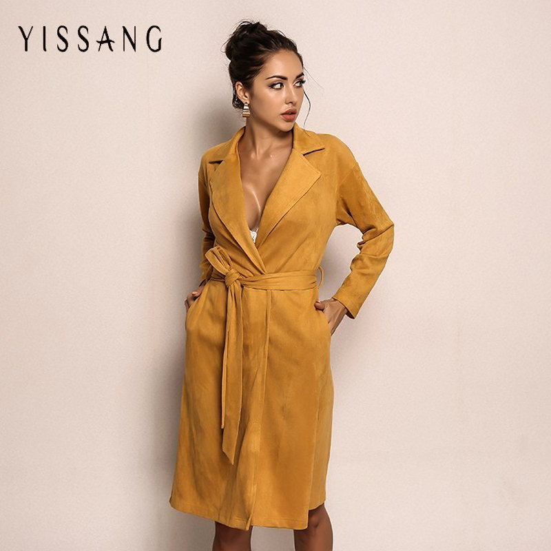 646be5476a4 Yissang Autumn Winter Long Trench Coat V Neck High Waist Lace Up Solid  Trench Coat For