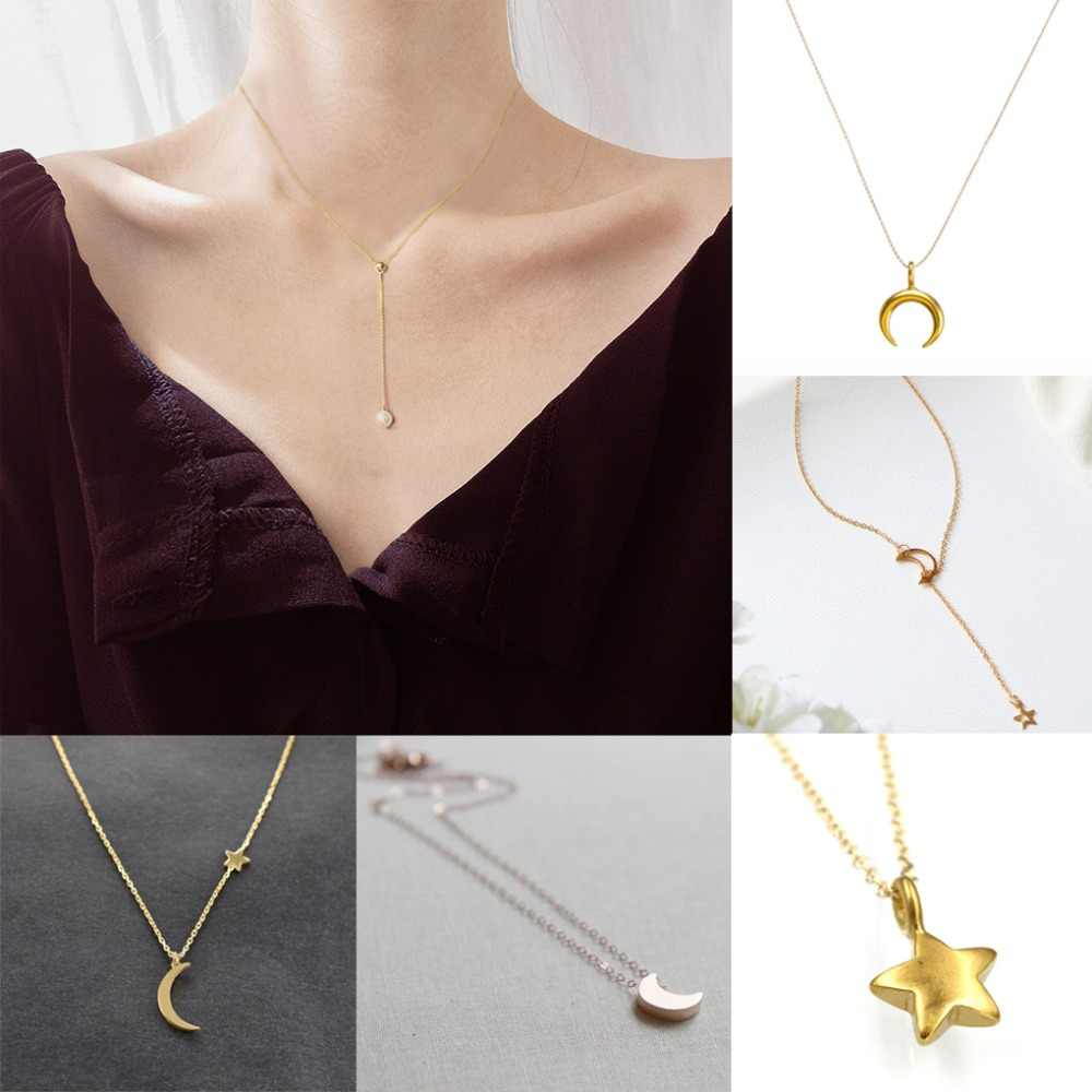 Star Moon Necklace Pendant Woman Fashion Jewelry Girl Golden Pop Gift Pearl Party Silver Beach Sexy