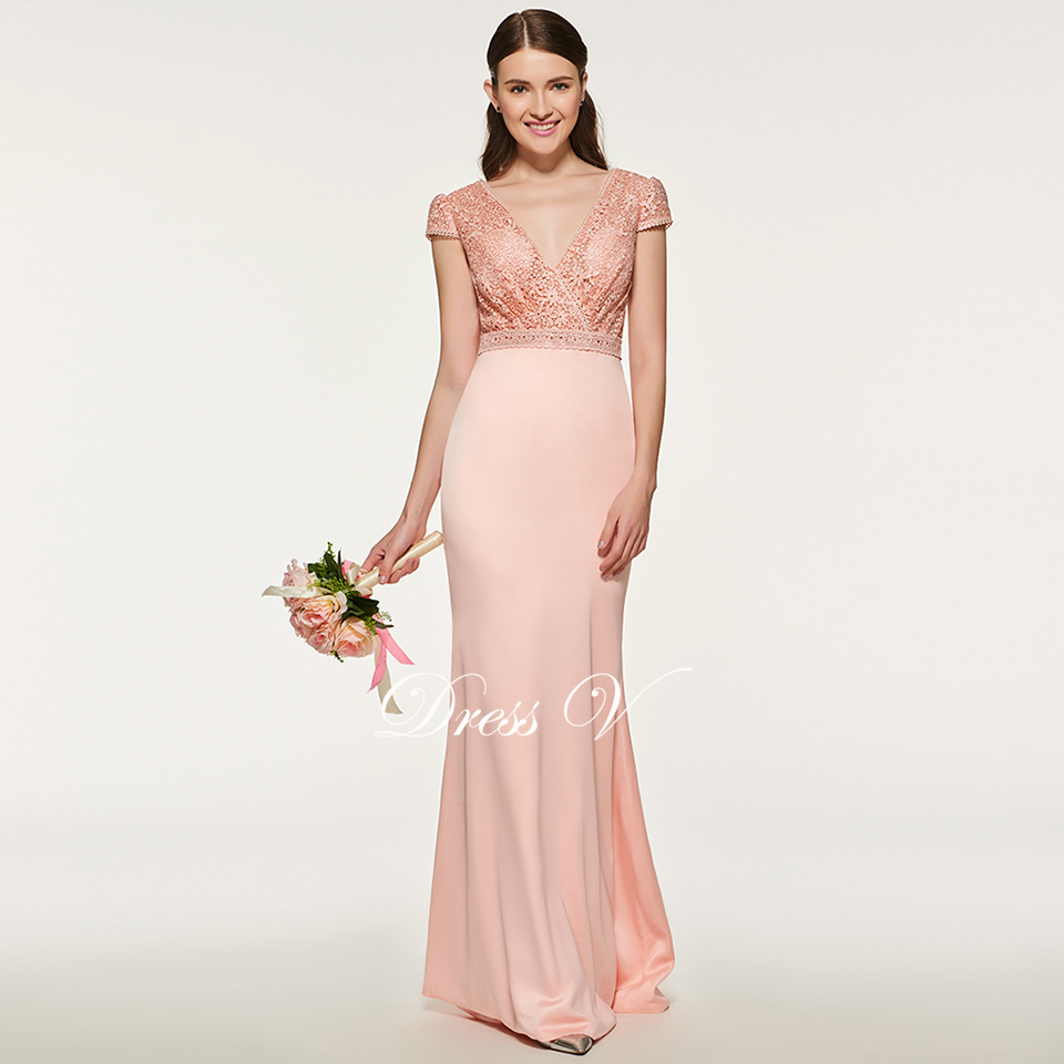 Dressv elegante carne Rosa v cuello vestido de dama manga corta ...