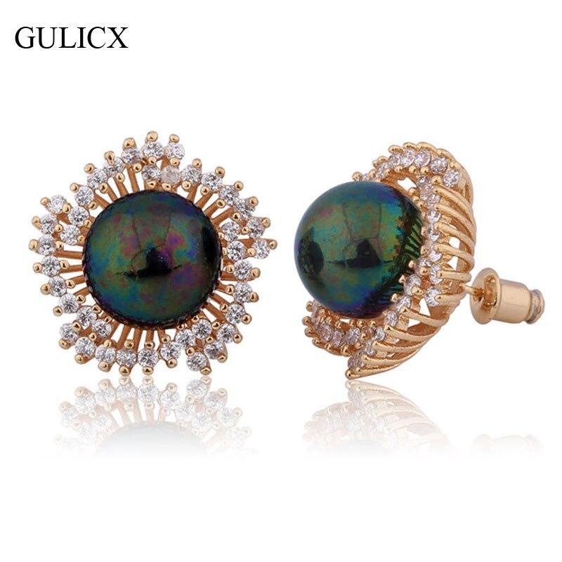 dd6e685e650b Gulicx perla Pendientes para las mujeres oro-color earing flor perla grande  negro cristal CZ joyería e516