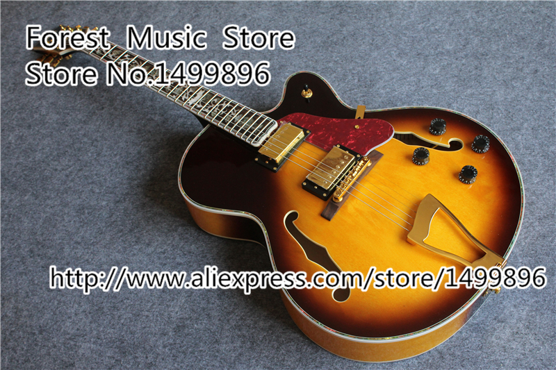 High Quality Vintage Sunburst L5 Guitars China Hollow Body Guitar With The Life Of Tree For Sale new arrival china custom shop hollow es electric guitars with flat quilted vintage sunburst as pictures for sale