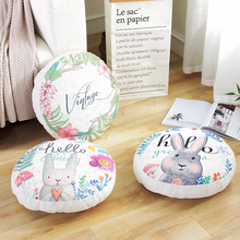 Round Linen Cushion PP Cotton Core Cartoon Rabbit Printed Chair Sofa Car Seat Back Cushions Removable Office Nap Pillow 45x45cm