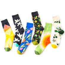 New womens personality fun Harajuku style creative tide color flower and bird pattern tube cotton socks 1 pairs