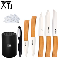 XYj Brand Bamboo Handle Ceramic Knife Set Cooking Tools 3 4 5 6 Kitchen Knive 6