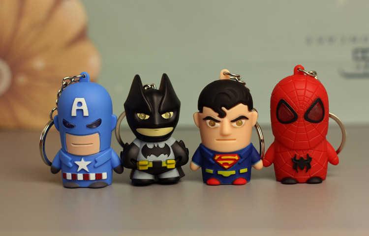 Brinquedos homem De Ferro Ironman Marvel Avengers Action Figure Keychain Chaveiros chaveiro Led Chaveiro Titular Batman Superman Super homem Brinquedo