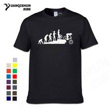 Interesting Mountain Biking Downhill Tshirt Funny Human evolution T shirt Men Punk Tops Tee Hipster Cotton