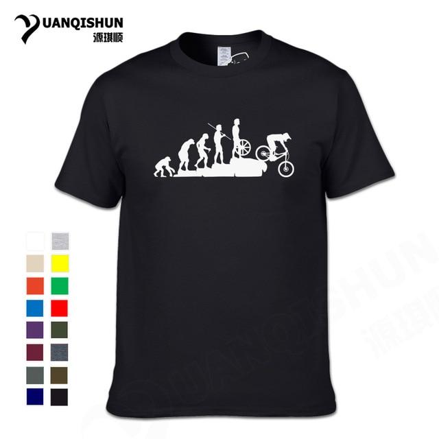 74e554a2 Interesting Mountain Biking Downhill Tshirt Funny Human evolution T-shirt  Men Punk Tops Tee Hipster Cotton Bicycle Casual Tshirt