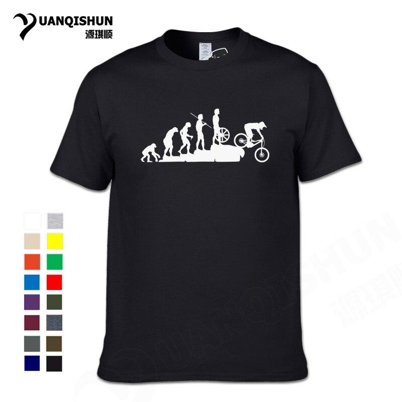 Interesting Mountain Biking Downhill Tshirt Funny Human evolution T-shirt Men Punk Tops Tee Hipster Cotton Bicycle Casual Tshirt