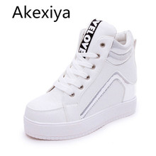 Akexiya 2017 Höhe Zunehmende Keile Frauen Casual Schuhe High Top Gemischte Farben Plattform Damen Schuhe Lace Up Herbst Stiefeletten