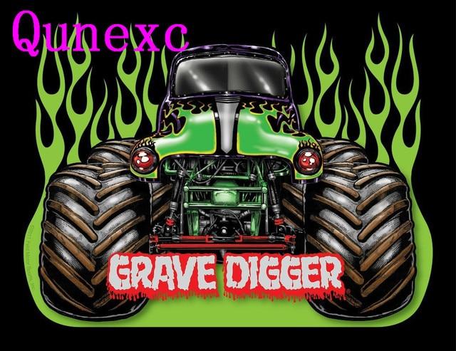 Qunexc Monster Jam Trucks Grave Digger Art Silk Poster 24