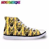 Coffee and Dogs Female Cute German Shepherd dogs Casual   Vulcanize     Shoes   Women 3D Animal High Top Canvas   Shoes   Woman Girls