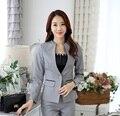 Nova Cinzento Elegante Fino Moda Feminina Blazers Estilo Uniforme 2015 Outono Inverno Casacos de Manga Longa Casaco Blazer Profissional Tops