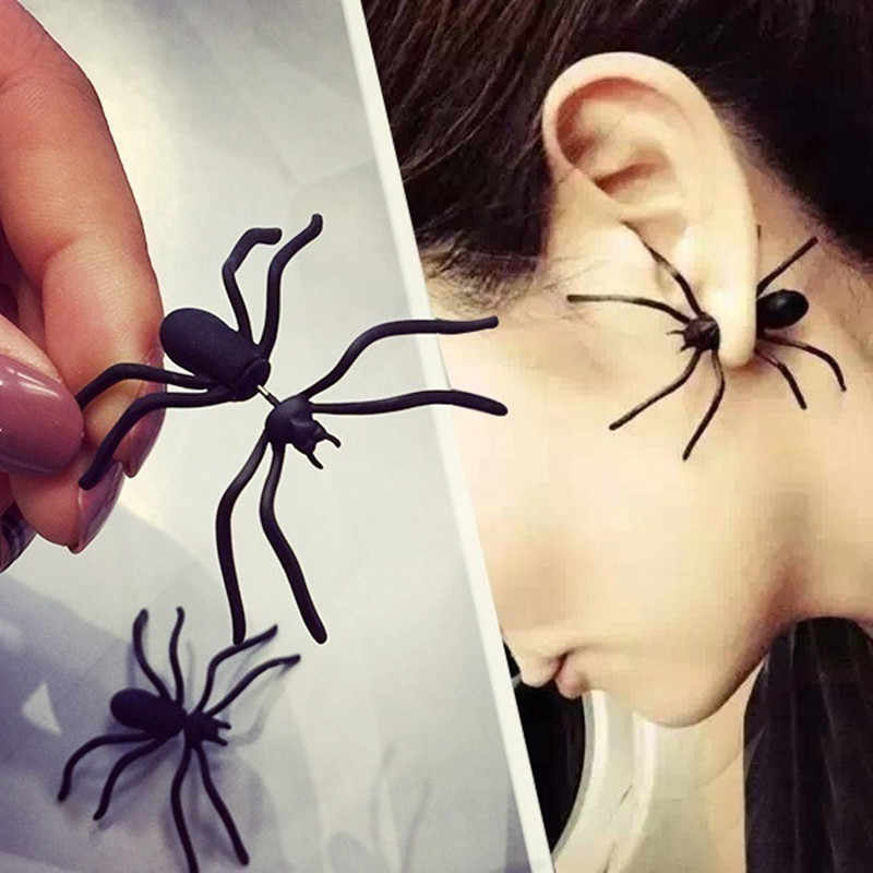 Spider Earring Black Ear Stud Funny Style Weird Design Earring Punk Jewelry Accessories for Women Men
