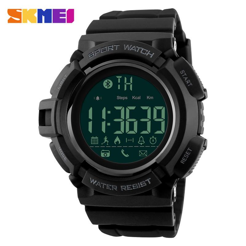 Prix pour SKMEI Bluetooth Smart Watch Hommes Montres de Sport Podomètre Calories Chronographe Mode 50 M Étanche Numérique Montres 1245
