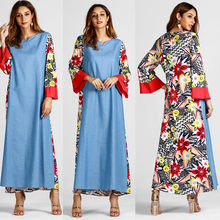 67d7c1a3095 Muslim Fashion Women s Ethnic Style Print Long Sleeve Party Long Maxi Dress  Robe Winter Christmas Party Dress 2018 Women QX50