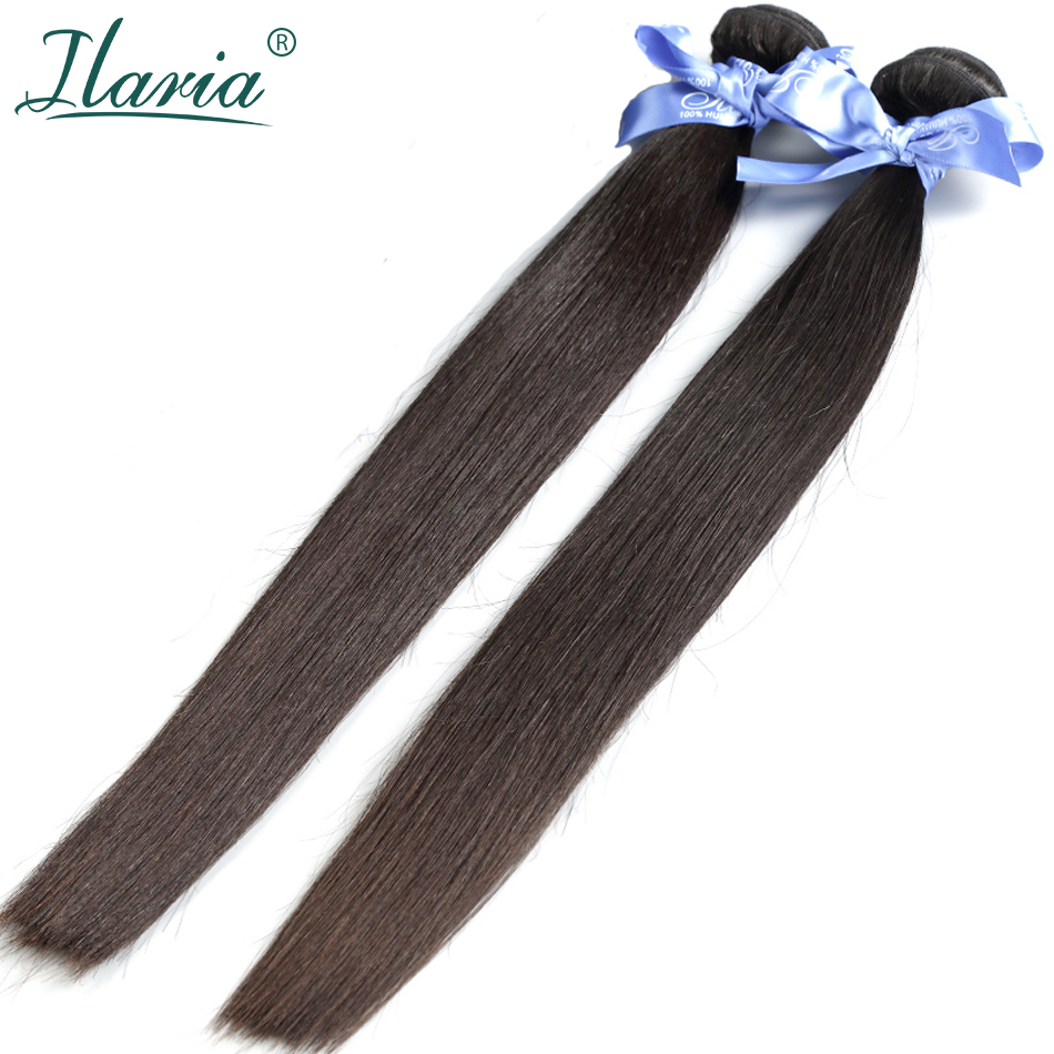 ILARIA HAIR 7A Malaysian Straight Virgin Hair 2  Bundles 100% Human Hair Weaves Remy Hair Extensions Natural Color Top Quality