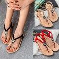Alta qualidade Boemia Verão Frisado Doce Sandálias Clipe Toe Sandálias Sapatos de Praia