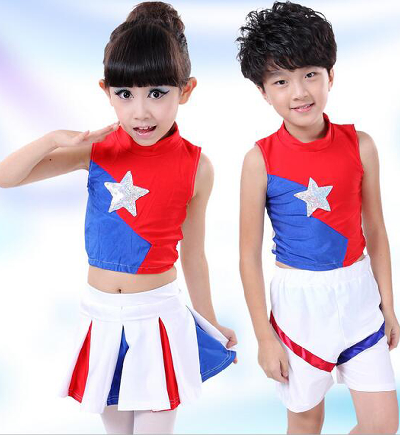 Free shipping, children school game Musical Glee party girl boy cheerleading cheerleader dance costume dress skirt for kid