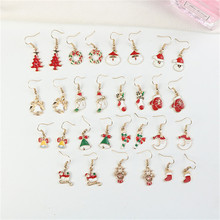 Cute Christmas Santa Claus Socks Trees Bells Gloves Snowman Woman Girls Hook Dangle Drop Earrings Fashion Jewelry-LAF santa claus enamel christmas dangle earrings