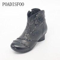 POADISFOO Genuine Leather Cow Leather Square Heels Women Fashion Boot Flowers Retro Vintage National Wind Grey