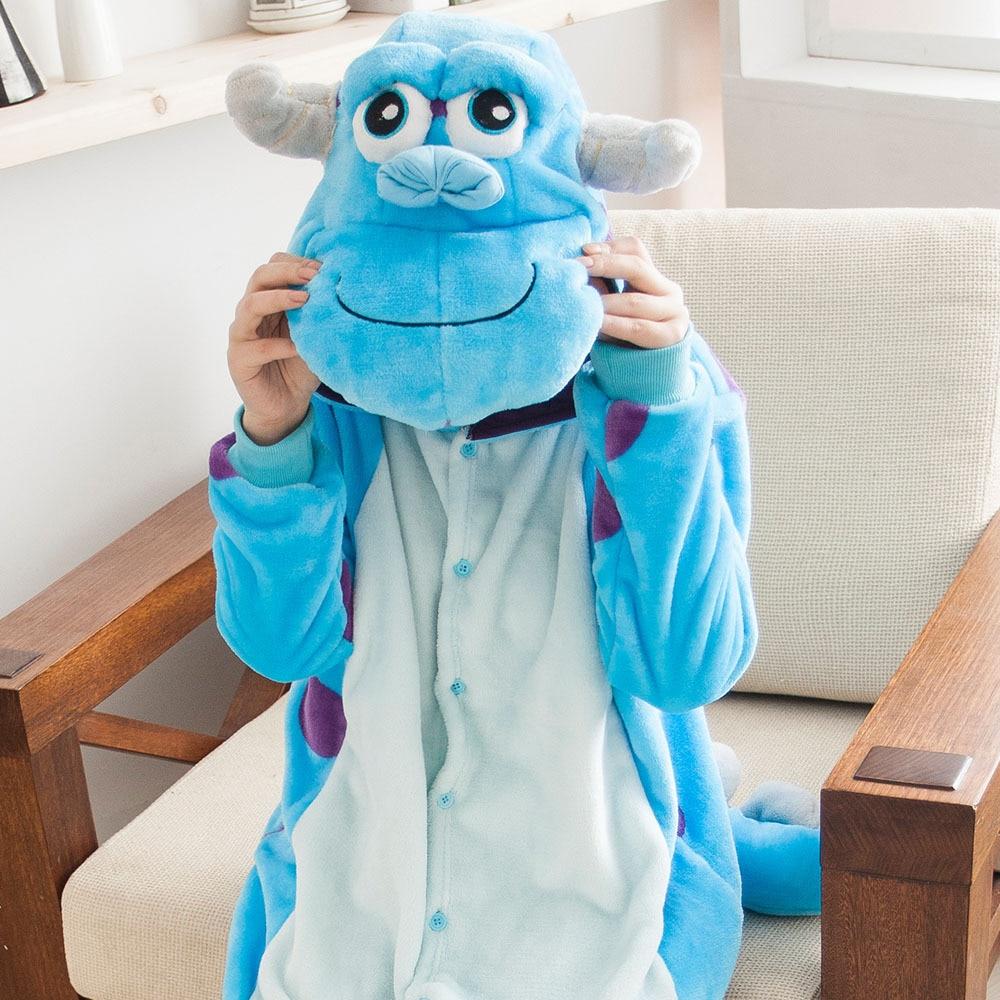 Kigurumi bleu monstre université Sulley Sullivan Pyjamas Costume de bande dessinée Cosplay Pyjamas fête Pijamas