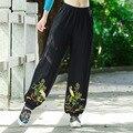 Solid Elastic Waist Cotton Women Pants Autumn Spring Loose Casual Harem Pants Cranes Pattern Embroidery Design Long Trousers