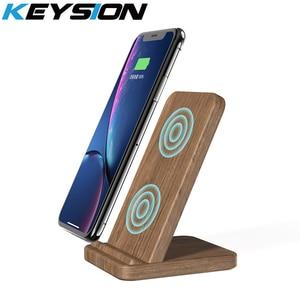 KEYSION 10 Вт Qi Быстрое беспроводное зарядное устройство для samsung S10 S9 Xiaomi Mi 9 деревянная Беспроводная зарядная подставка для iPhone XR XS Max X 8 Plus