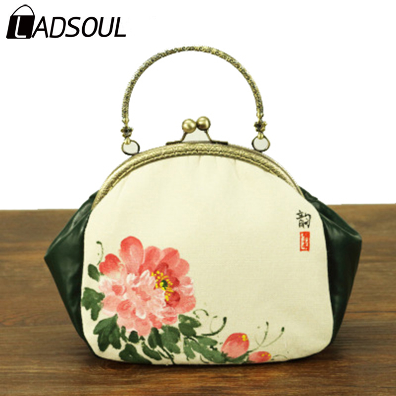 LADSOUL Handbag Linen Chinese Style Women Handbags Female Elegant Mini Bag Bags For Girl Lady Hand Painted National Bag A4675/h