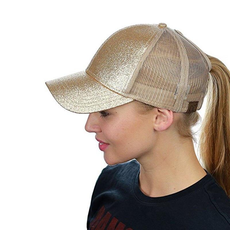 b3ce1a95be81c Aliexpress.com  Comprar Gorra de béisbol de cola de caballo con purpurina CC  de verano de 2018 para mujeres gorras de Hip Hop sombrero de camionero de  ...
