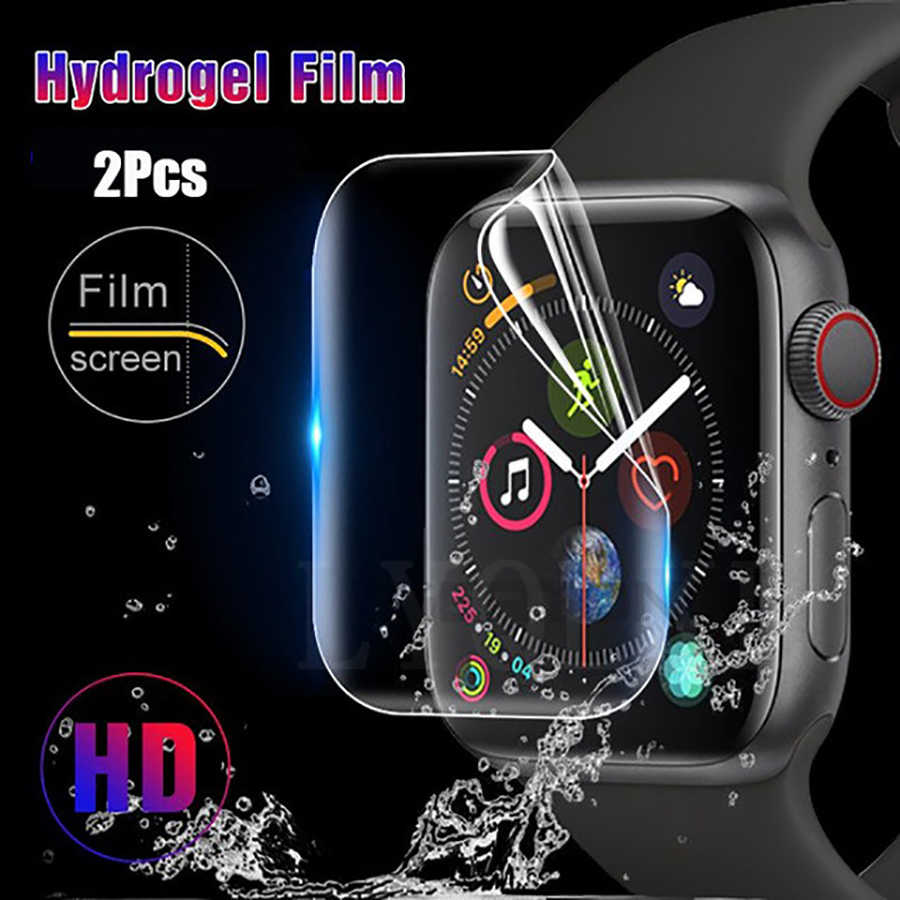 2 Pcs Hydrogel Screen Protector Film  For Apple Watch iWatch 38 40 42 44 mm Full Cover Protective for iWatch Series 4 3 2 1