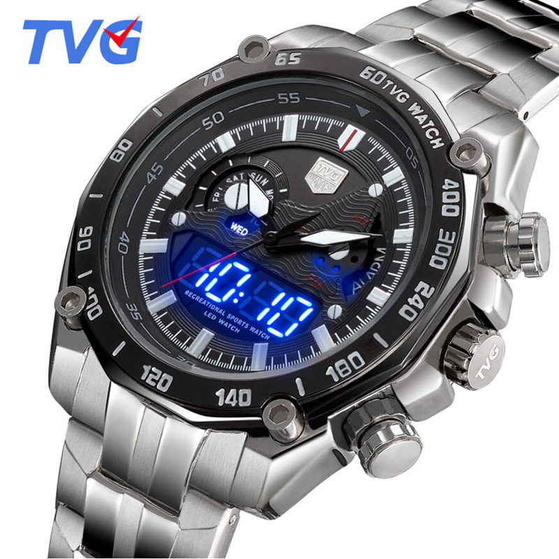 Relogio Masculino New TVG Watches Men Silver Steel Led Digital Analog Quartz Watch 30m Waterproof Sports Watches For Men tvg male sports watch men full stainless steel waterproof quartz watch digital analog dual display men s led military watches