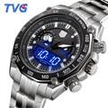 Relogio masculino nueva tvg relojes hombres de acero de plata led digital analógico de cuarzo reloj 100 m impermeable de buceo relojes deportivos para hombres