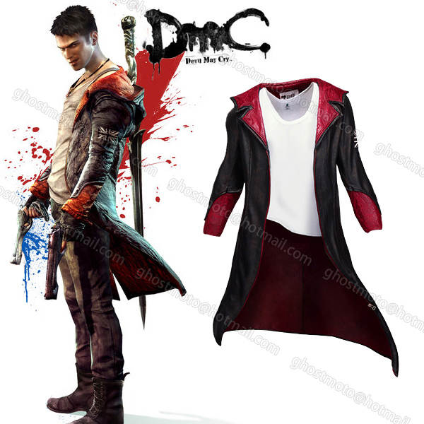 Hot Sell New Devil May Cry 5 Dante Game Cosplay Halloween Clothing Wear Long Wind Coat Youth Costumes Dmc Leather Coat Jacket