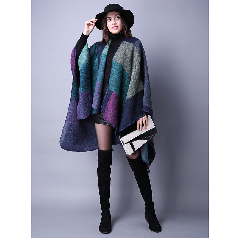 Women's Winter Poncho, Vintage Blanket, Women's Lady Knit Shawl, Cashmere Scarf Poncho 15
