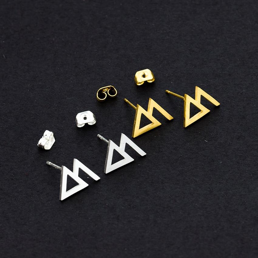 10pcs/lot Stainless Steel Triangle korean Earrings Gold Silver Mountain Stud Earrings Women Men Jewelry Aretes De Mujer
