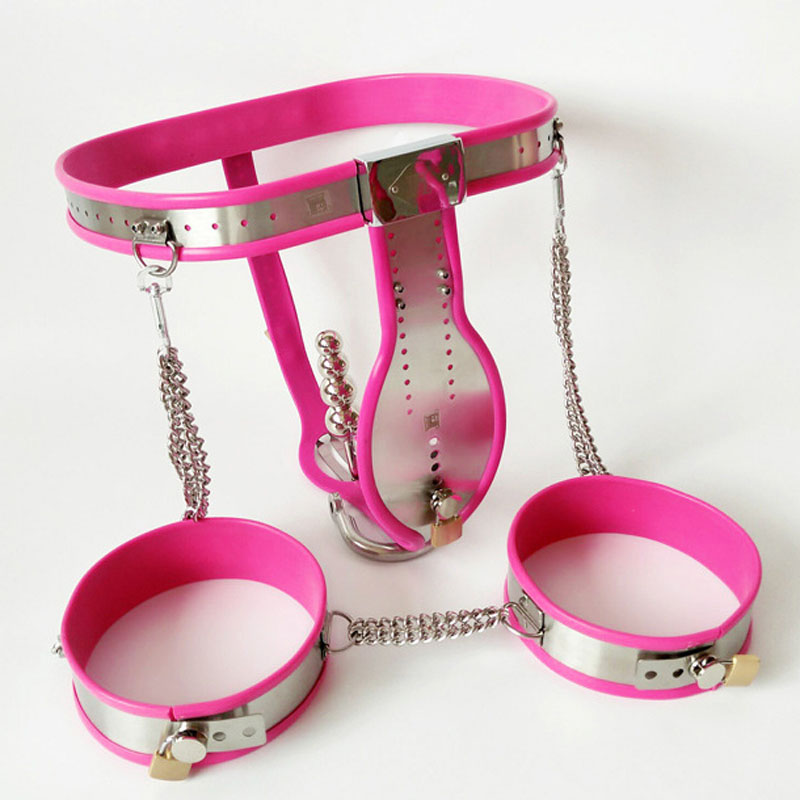 3 pcs/set pink silicone stainless steel male chastity belt pants thigh ring anal plug bdsm bondage device adult sex toys for men arc waist belts stainless steel male chastity belt pants with anal plug handcuffs men strapon bondage hand cuffs chastity device