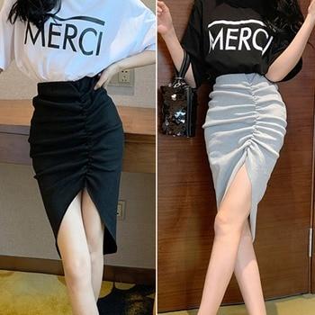Wrap Asymmetric Maxi Skirts Women Drape Ruched Office Ladies Summer Skirts Side Split Slit High Waist Sexy Solid Skirt