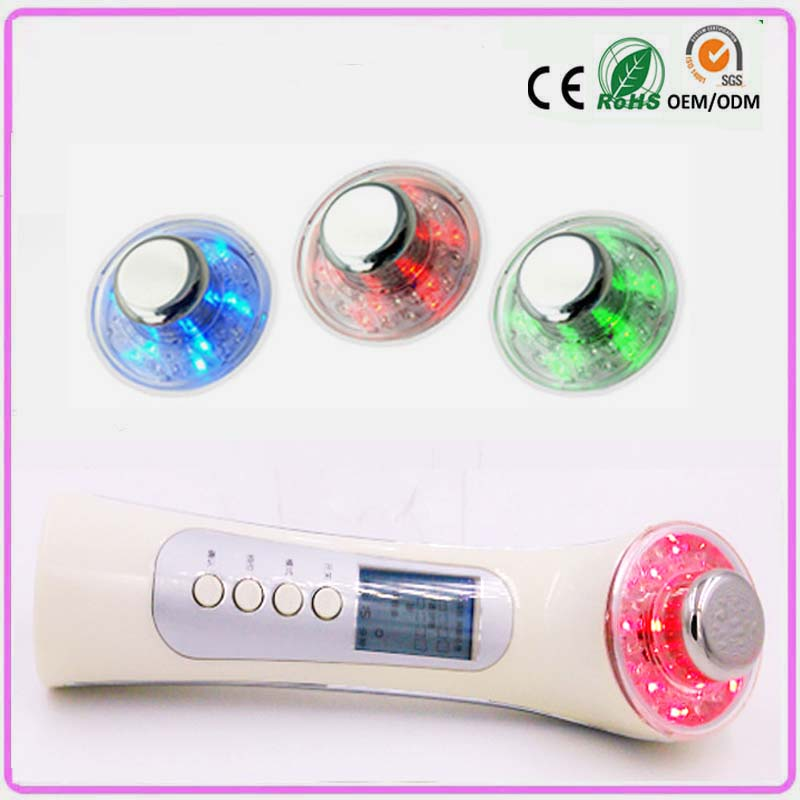 Galvanic ion ultrasonic led light photon skin rejuvenation anti aging black spot remove facial equipment beauty massager machine 3mhz ultrasonic galvanic ion led light photon therapy facial rejuvenation acne treatment skin care face beauty massager machine