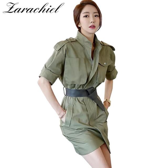 New 2018 Fall Army Green Dress Suit Women Vintage Formal Short