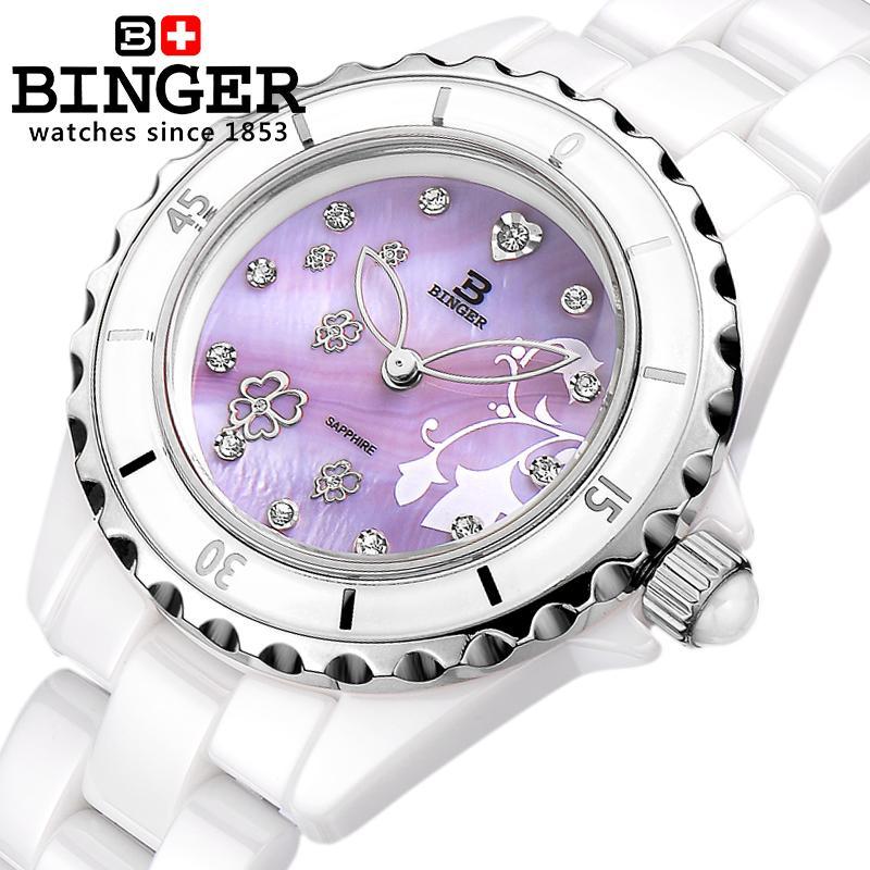 Switzerland Binger Space ceramic wristwatches fashion quartz Women's watches Round rhinestone clock Water Resistant BG 0412 2|water resistant|water clock|water resistant clock - title=